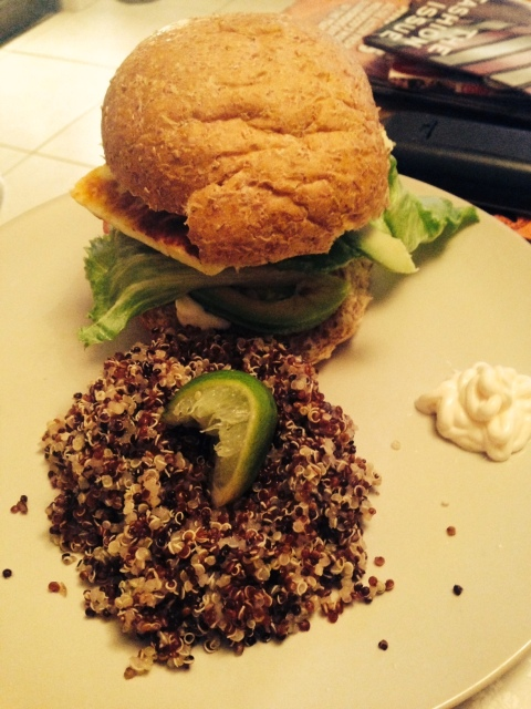 I made this vege burger by grilling some hallumi, portobello mushroom and added some avocado (the obsession continues!). I then did a side of quinoa. My husband hated the quinoa and i'm not the biggest fan but it was filling!
