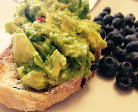 I am obsessed by avocados at the moment. I crush mine and add a tiny bit of chilli and some sea salt. This time I had a slice on olive bread toast with a side of blueberries.